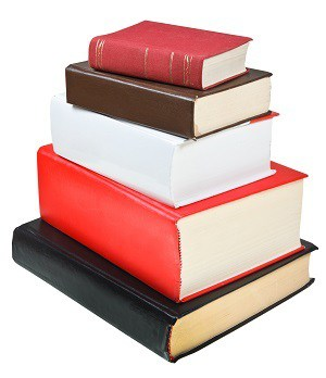 stack different sizes books isolated