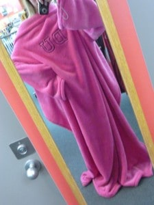 ...or hot pink DU Snuggies (seriously, DU?! But I couldn't resist trying one on!).