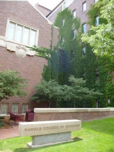 The ivy-covered west entrance to Daniels.