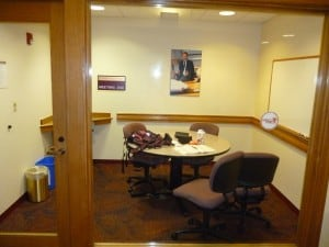 One of the many quiet study rooms off of the main hallway.
