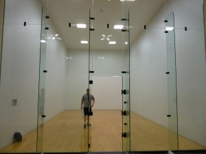 One of the racquetball courts.