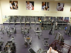 The weight room, as seen from the cardio room.