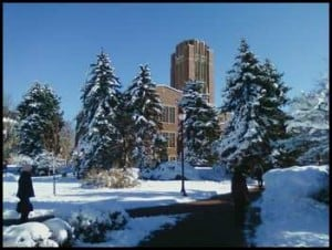 Snow, sunshine, and blue skies at DU.